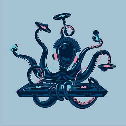 Octopus dj with vinyl disc and turntable. Live music party