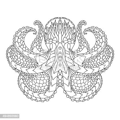 Octopus. Ethnic patterned vector illustration. African, indian, totem, tribal