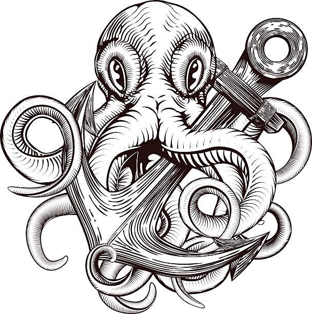 illustrations, cliparts, dessins animés et icônes de poulpe tenant une ancre - tatouages marins