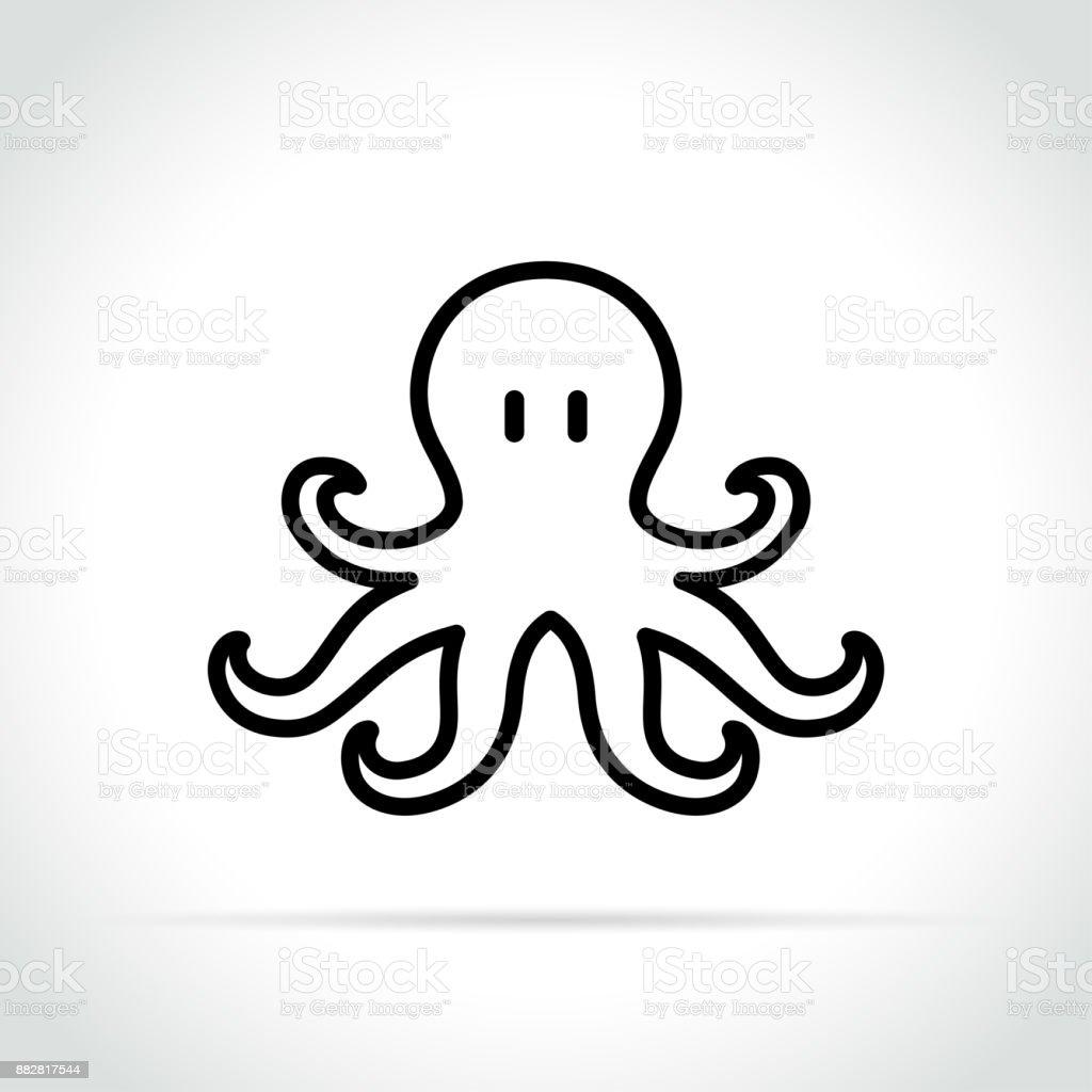 octopus icon on white background vector art illustration