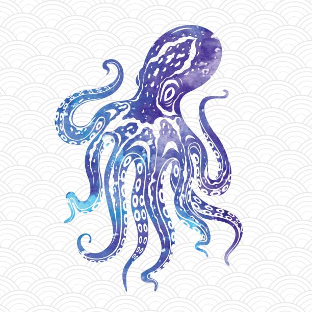 octopus icon with color texture. vector illustration - octopus stock illustrations