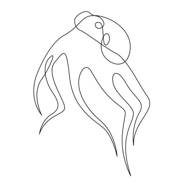 oktopus-illustration von einer linie gezeichnet - einzelnes tier stock-grafiken, -clipart, -cartoons und -symbole