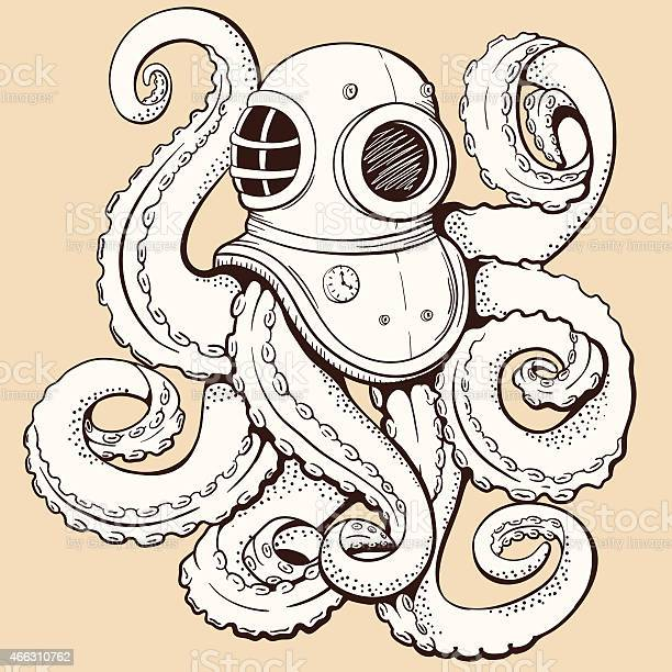 Octopus in retro deep diving suit vector illustration vector id466310762?b=1&k=6&m=466310762&s=612x612&h=lsyhyjmdiypcixe8q8vtynnatmf1qan2okqxmwzuosm=