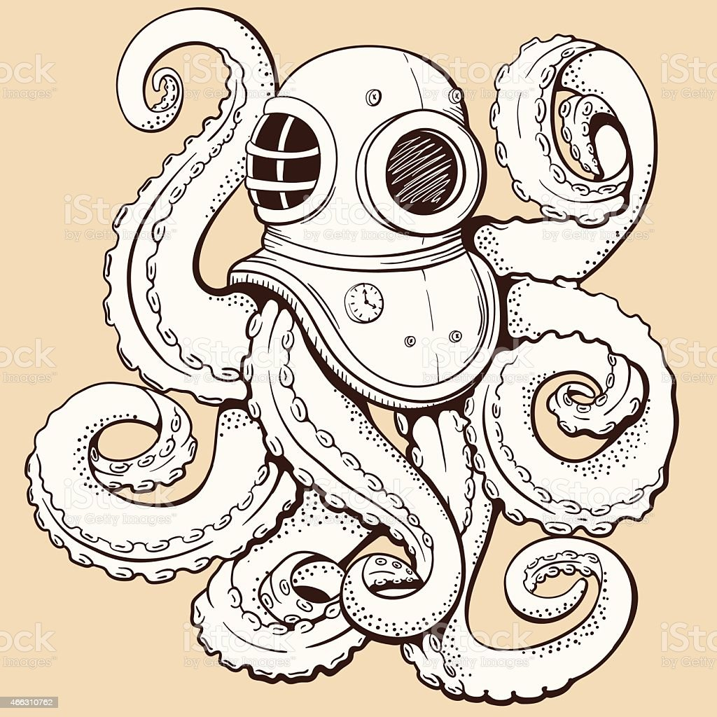 Octopus in retro deep diving suit. Vector illustration vector art illustration