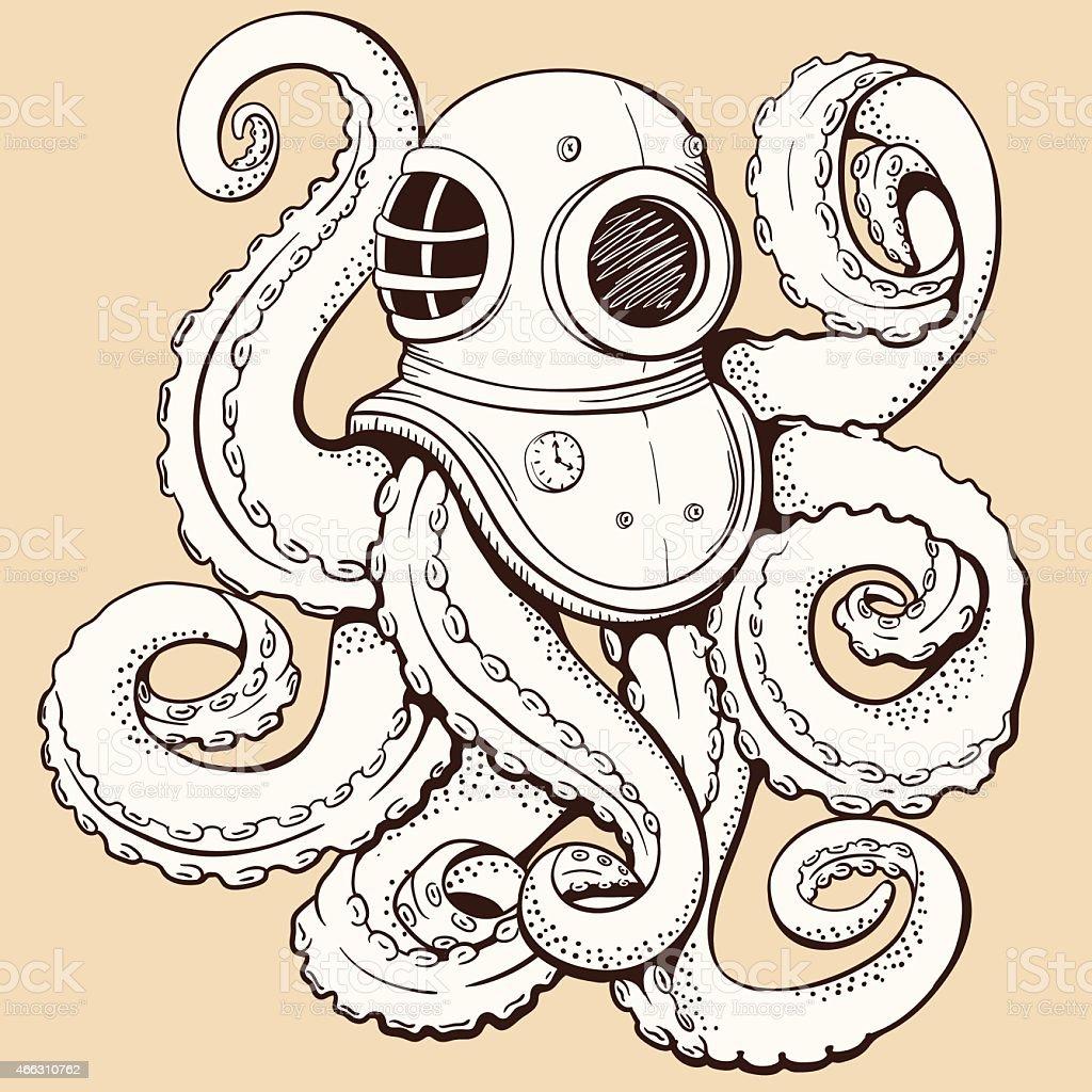 Octopus in retro deep diving suit. Vector illustration vector art illustration