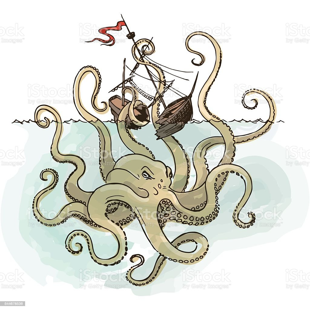 Octopus Kraken attacks the boat vector art illustration
