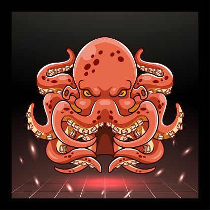 Octopus kraken mascot. esport logo design