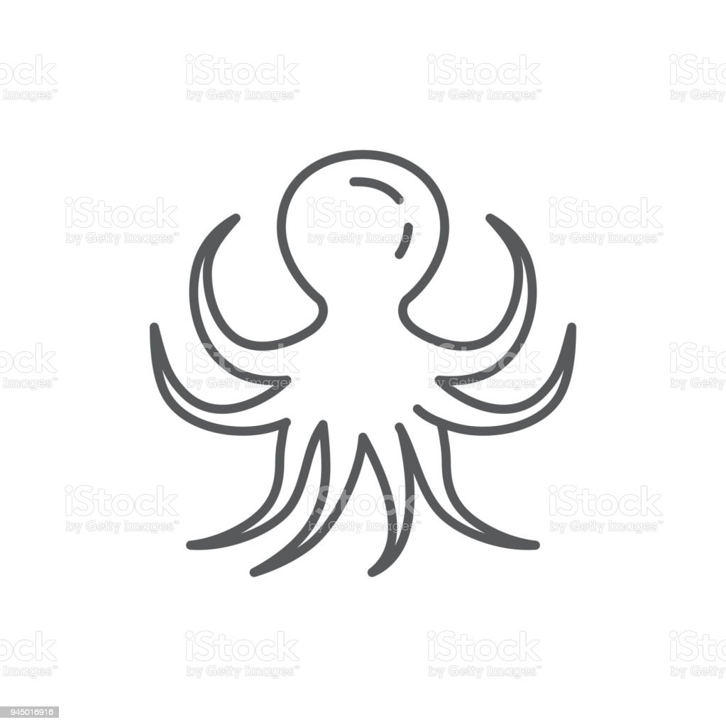 Octopus line editable pixel perfect icon isolated on white background - outline sea and ocean wildlife underwater animal or seafood simple silhouette. vector art illustration