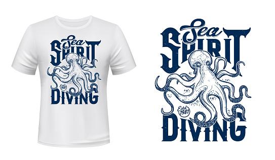 Octopus mascot t-shirt print vector mockup
