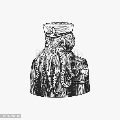 Octopus sailor. Sea captain. Fashion Animal character. Nautical Seaman or nautical mariner. Hand drawn sketch. Vector engraved illustration for emblem, label and tattoo or T-shirts