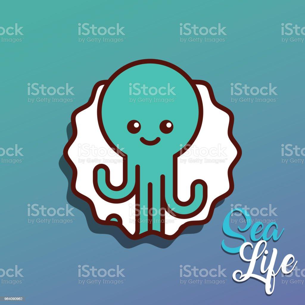 octopus sea life cartoon - Royalty-free Animal stock vector