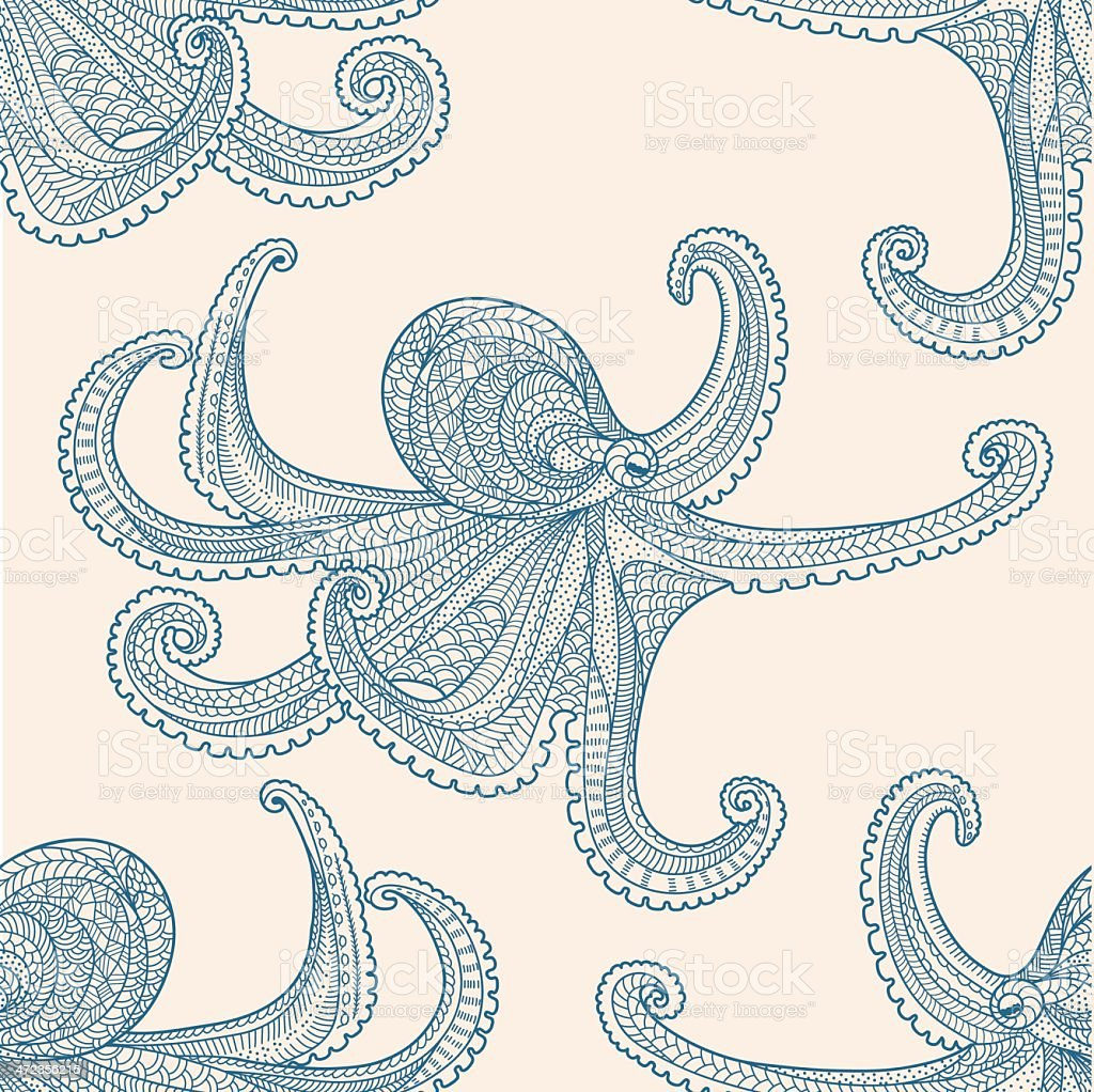 Octopus seamless pattern royalty-free stock vector art