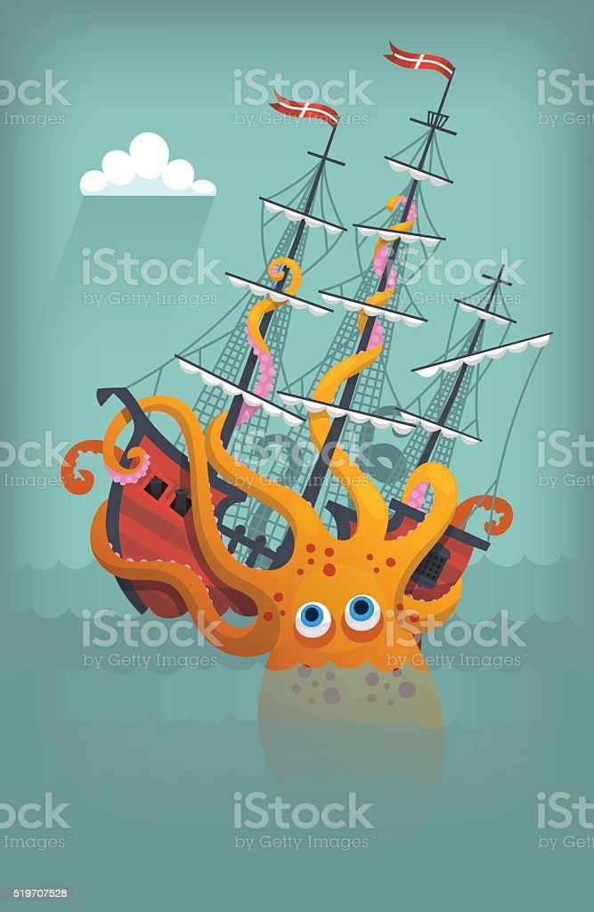 Octopus sinks ship vector art illustration