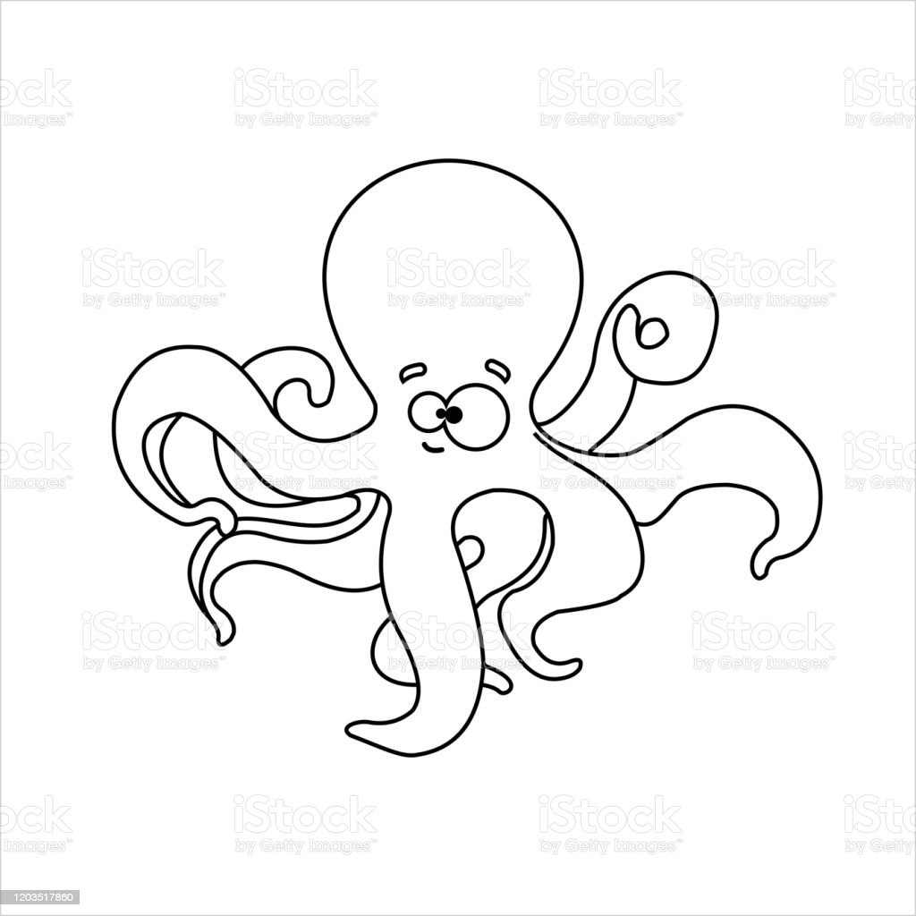 - Octopus Smiling Funny Friendly Octopus For Childrens Coloring