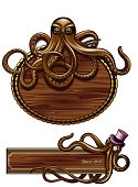 Octopus Steampunk signs. 10 EPS.