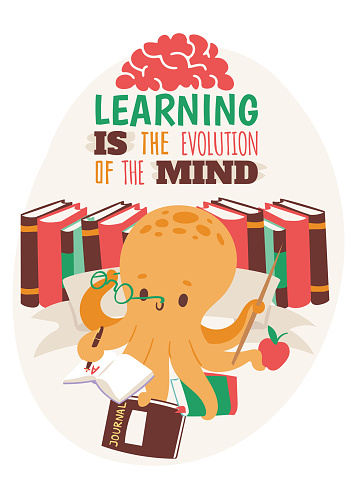 Octopus teacher holding copybook poster, book glasses, journal, apple, pointer vector illustration. Colorful books on background. Learning is the evolution of the mind.