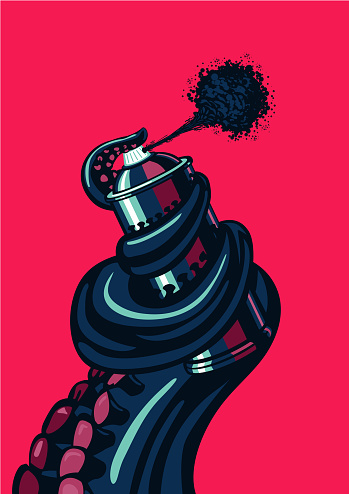 Octopus tentacle is holding a graffity spray can. Underground cotemporary artist illustration.