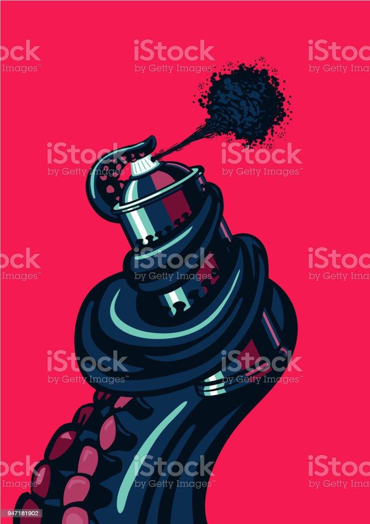 Octopus Tentacle hält eine Graffiti-Sprühdose. Zeitgenössische Künstler Abbildung in der Tiefgarage. – Vektorgrafik