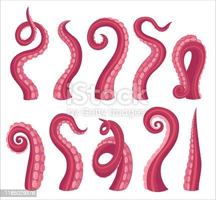 Octopus tentacles cartoon color vector illustrations set. marine animal palps isolated on white pack. Ocean wildlife. Underwater aquatic squid collection. Invertebrate wildlife bundle