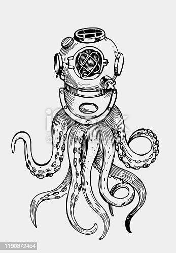 Octopus tentacles in retro diving suit. Illustration for print. Outline with transparent background. Hand drawn illustration converted to vector