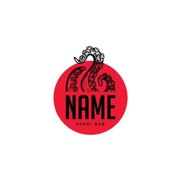 octopus tentacles logo-konzept. - kalamar stock-grafiken, -clipart, -cartoons und -symbole