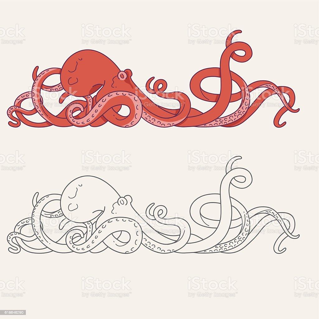 Octopus tentacles vector art illustration