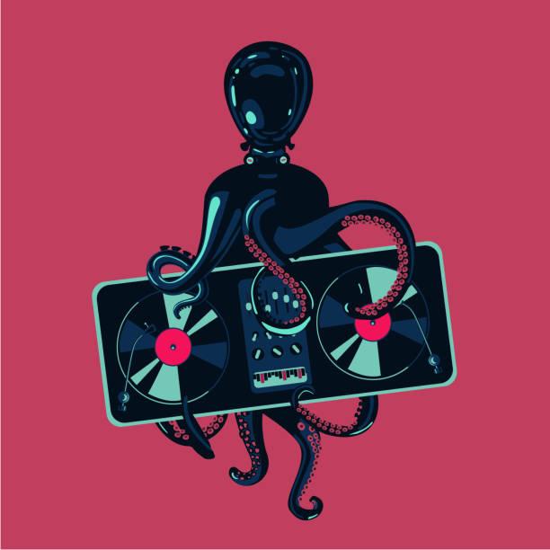 tintenfisch tentakeln mit vinyl record plattenspieler. hip-hop party plakat vorlage. festival für elektronische musik. - edm stock-grafiken, -clipart, -cartoons und -symbole