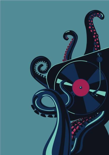 bildbanksillustrationer, clip art samt tecknat material och ikoner med bläckfisk tentakler med vinyl record skivspelare. party affisch mall. - hip hop poster