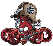 Vector colourful illustration of one-eyed octopus in the tricorn with pistol and tobacco pipe in his tentacles, isolated on white background. File doesn't contains gradients, blends, transparency and strokes or other special visual effects. You can open this file with any vector graphics editors.