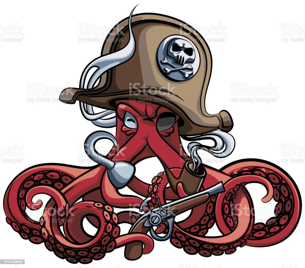 Octopus the Corsair vector art illustration