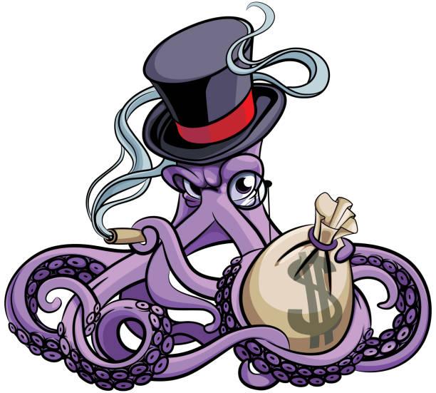 octopus the millionaire - evil money stock illustrations, clip art, cartoons, & icons