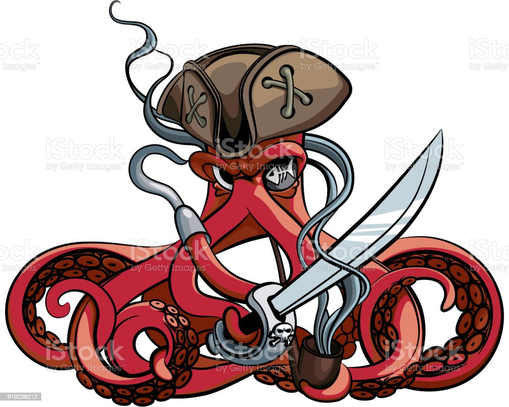 Octopus the Pirate vector art illustration
