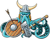 Vector colourful illustration of octopus in the horned viking helmet with battle hammer and wooden shield in his tentacles, isolated on white background. File doesn't contains gradients, blends, transparency and strokes or other special visual effects. You can open this file with any vector graphics editors.