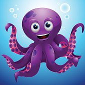 A smiling octopus cartoon. Linear and Radial gradients were used.