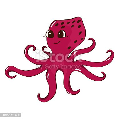 istock Octopus. Vector illustration in cartoon style. Can be used as stickers, decals, to decorate children's rooms. Isolated on white background 1322921496