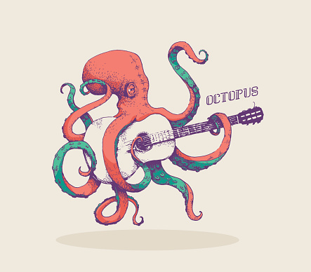 Octopus. Vector illustration of colored octopus playing guitar, hand drawn, vintage illustration