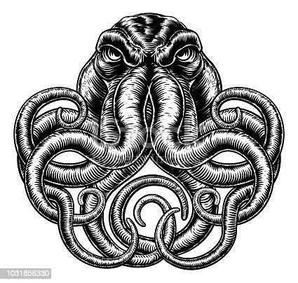 An original illustration of an octopus or cthulhu monster in a vintage woodblock or woodcut retro style.