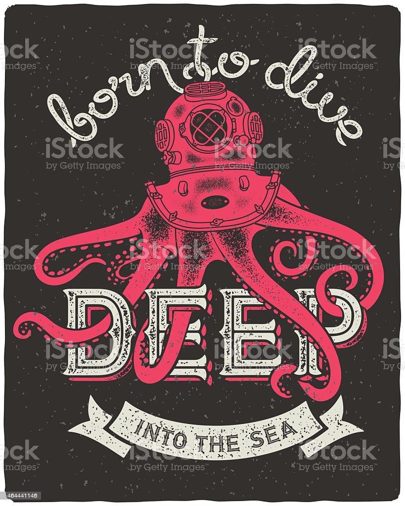 Octopus wearing a diving helmet vector art illustration