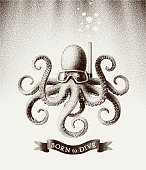 Octopus wearing a mask for diving under water. Vector illustration in style of vintage etchings