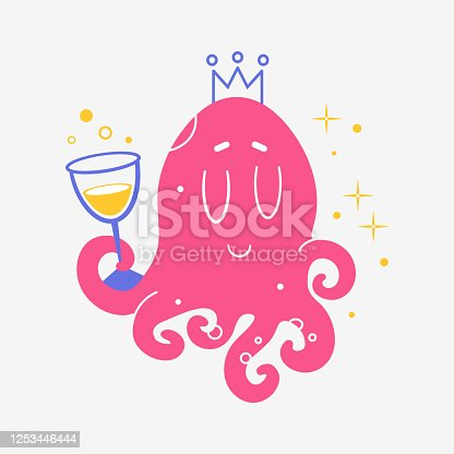 Octopus with a glass of wine. Print for t-shirt, Notepad, banner Vector. Cartoon. Isolated art