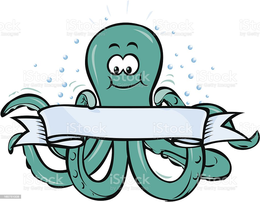 Octopus with banner vector art illustration