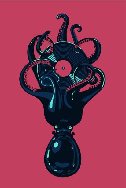tintenfisch mit vinyl-scheibe in tentakeln... hip hop musik poster. nacht party cliparts. tattoo-stil. - edm stock-grafiken, -clipart, -cartoons und -symbole