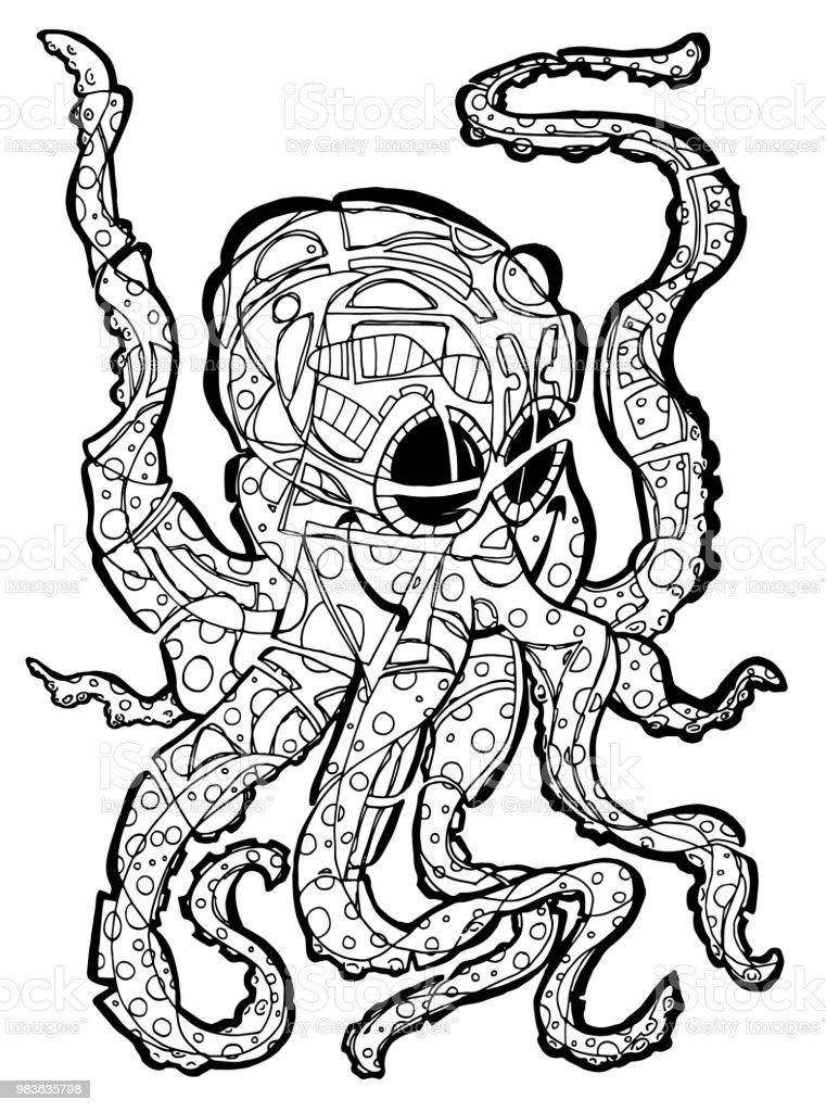 Ilustración de Página Para Colorear De Octopussi y más banco de ...