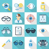 Oculist and and ophthalmologist icon set. Shop sign, professional medical care and equipment. Vector flat style cartoon illustration isolated on white and blue background