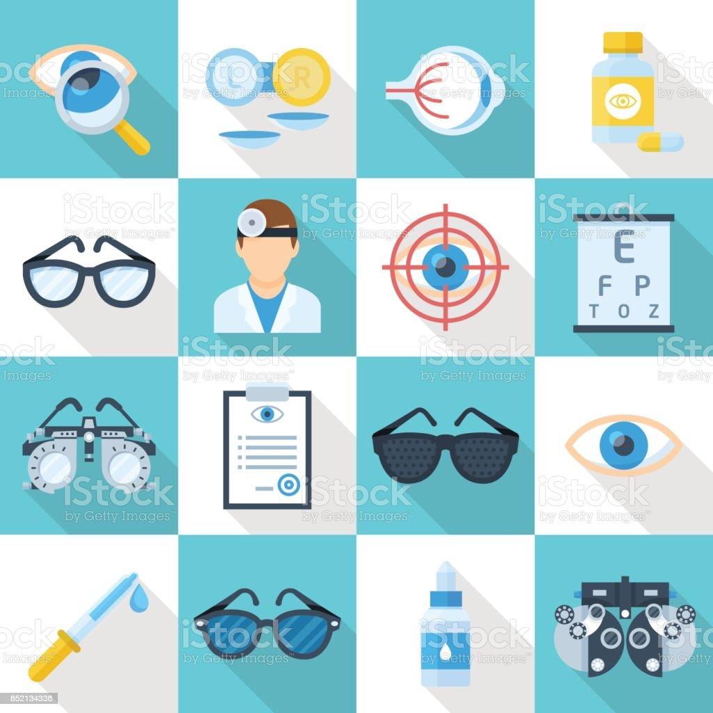 Augenarzt Cartoon flache Symbolsatz – Vektorgrafik