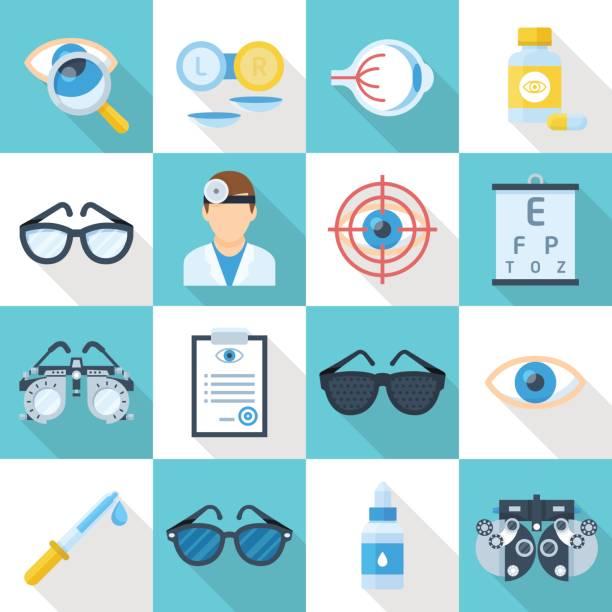 ilustraciones, imágenes clip art, dibujos animados e iconos de stock de conjunto plana de iconos de dibujos animados oculista - optometrista