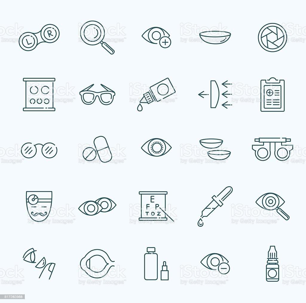 Oculist optometry vision correction eyes health black icons set vector art illustration