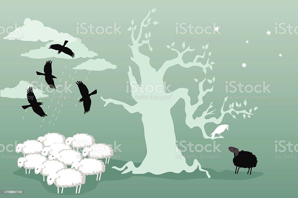 Odd bird and black sheep vector art illustration