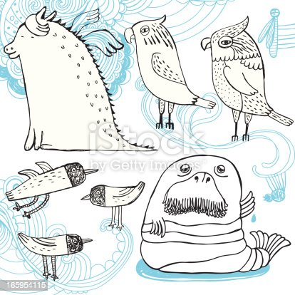 Vector file of hand drawn animals