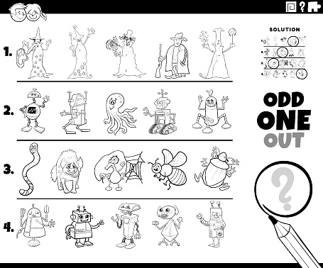 odd one out character picture coloring book page